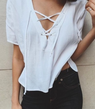 shirt tie up white shirt tie infront grey criss cross crop top white tie casual trendy indie boho funny cute girly flowy t-shirt