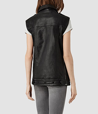 Womens Bristow Leather Gilet (Black) | ALLSAINTS.com