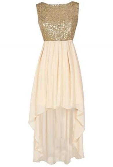 cream dress hi low dress sequin dress