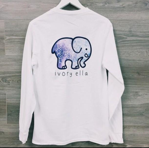 shirt elephant long sleeves white
