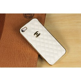 Leather Coco Chanel iPhone 5 Case Beige - Golden