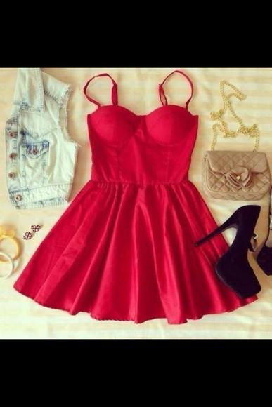 dress red dress shoes bag denim vest high heels coat