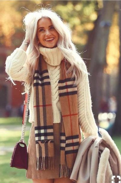 sweater winter outfits turtleneck scarf skirt cute warm warm sweater dressy