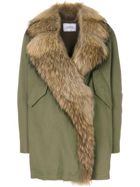 FORTE COUTURE coat oversized fur women cotton green