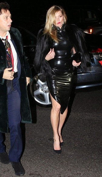 dress kate moss black faux leather