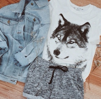 shorts grey sport wolf denim black white jacket denim jacket t-shirt shirt