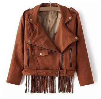 brown jacket fringed jacket fringes suede suede jacket buttons zip buckles fall jacket college fall colors