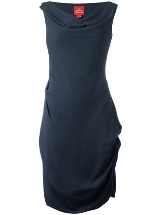 dress midi dress women midi draped blue