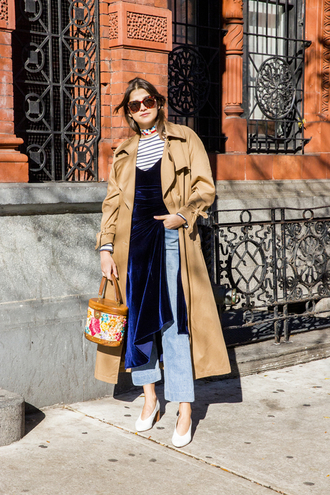 man repeller blogger dress top jeans coat shoes bag sweater sunglasses jacket jewels trench coat pumps striped top velvet dress dress over pants