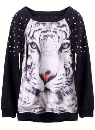 tiger tiger face studs spikes sweater animal face print