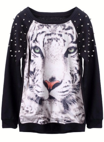 sweater spikes studs tiger tiger face