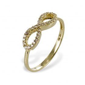 Echt 333 gold *** 8 kt goldring solitär ring ringe zirkonia brilliant infinity