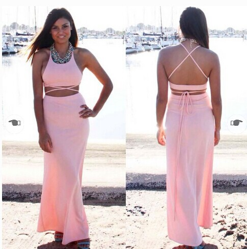 2014 new fashion two pieces black sleeveless sheath ankle length spaghettistrap hot legs crop maxi dress OM224-in Dresses from Apparel & Accessories on Aliexpress.com   Alibaba Group