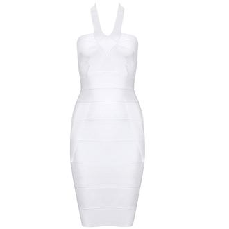 waist dress white fashion sexy party outfits classy bqueen bandage dress halter