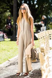 jumpsuit,bag,sunglasses,shoes,sandals,slanelle