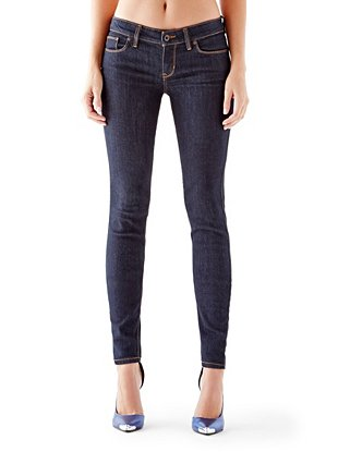Rise Power Skinny Jeans with Silicone Rinse at Guess