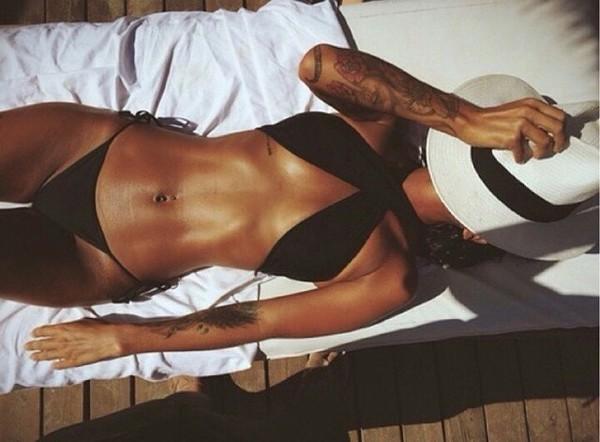 swimwear bikini bikini top black bikini top halter top criss cross crop tops