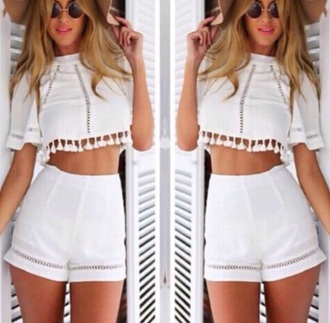 shorts outfit two-piece top summer white tassles tumblr outfit