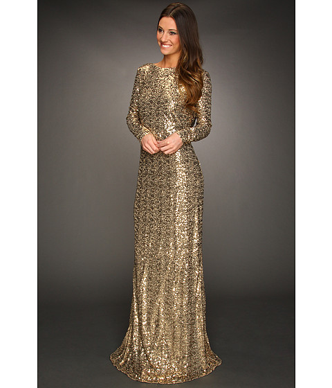 Badgley Mischka Cowl Back Gown Gold - Zappos.com Free Shipping BOTH Ways