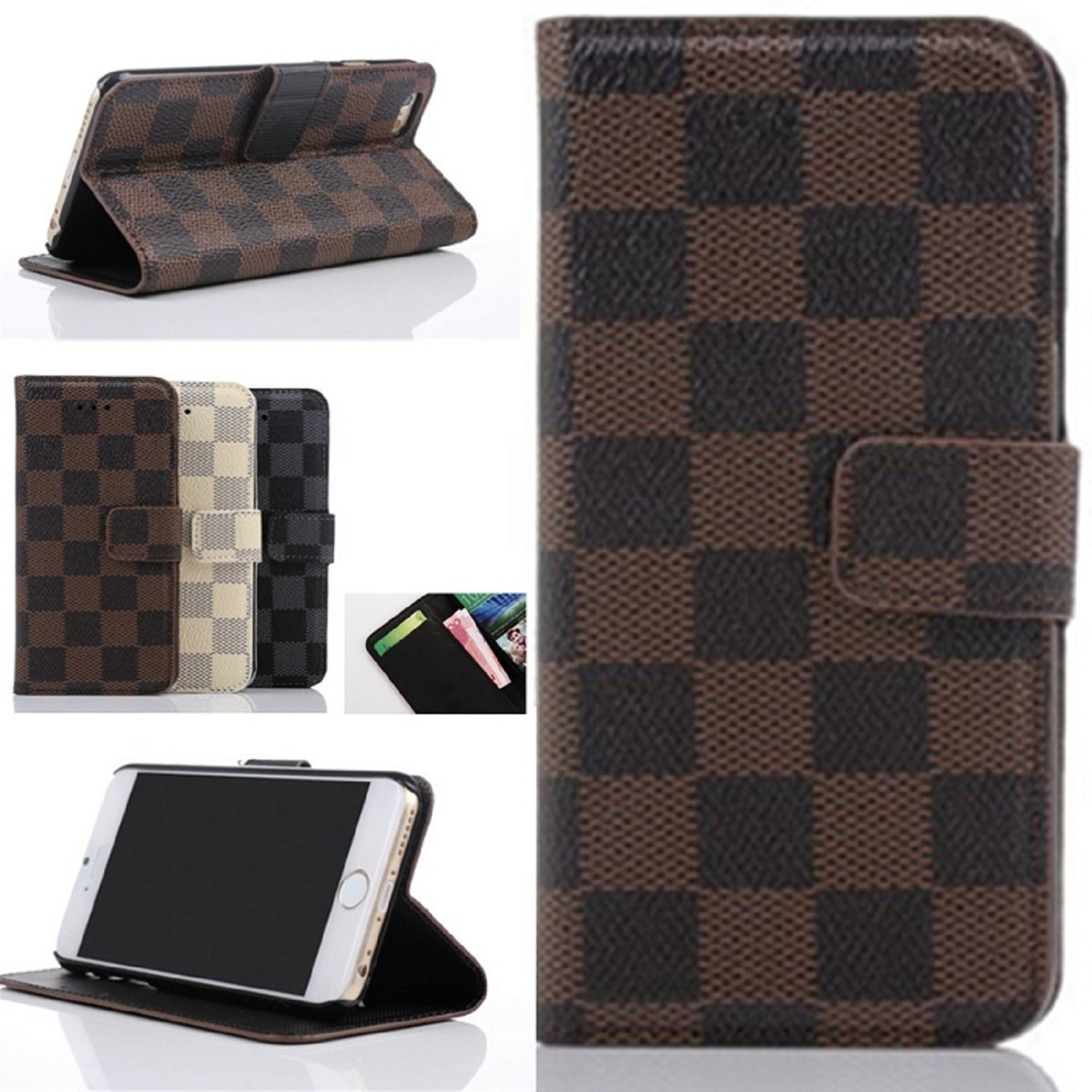 big sale 9e215 02183 Amazon.com: Iphone 6 Case, Hd LCD Screen Protector, Kit Pack Set Bundle - 1  Leather Fashion Designer Wallet Flip Cover Skin Case Stand and 1 Crystal ...