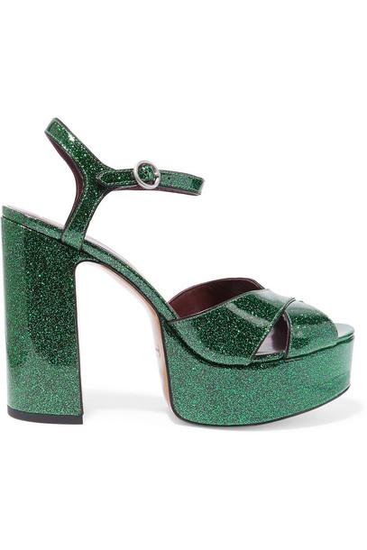 Marc Jacobs Debbie Glittered Leather Platform Sandals in emerald