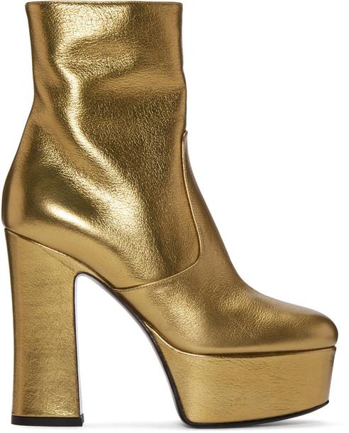 Saint Laurent candy boots gold shoes
