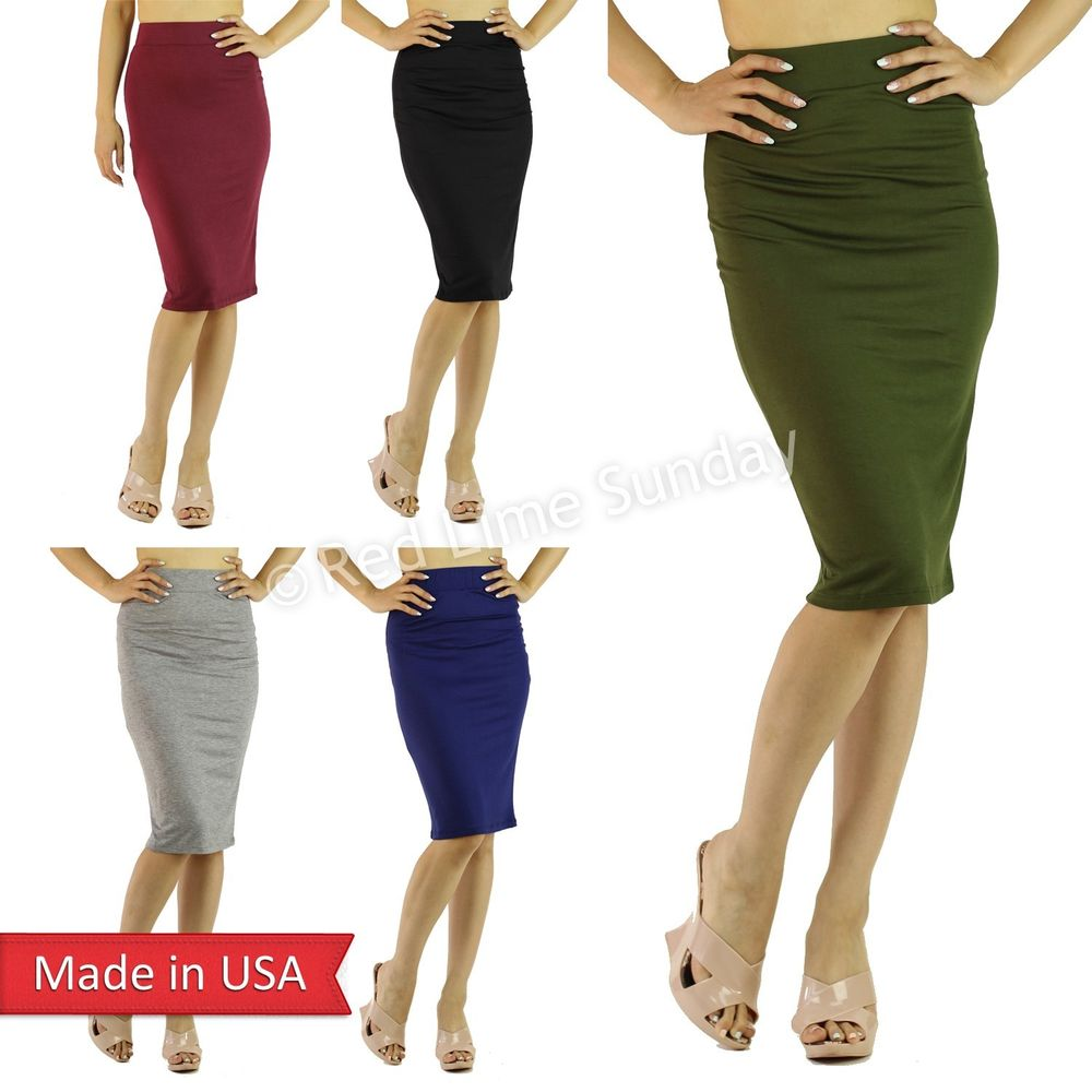 New Cute Solid Color Lightweight Knee Length High Waist Pencil Skirt Junior USA