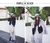 mexiquer,blogger,lilac,fluffy,faux fur jacket,leather jacket,slit dress,hat,dress,jewels,shoes
