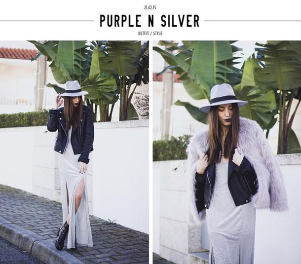 mexiquer blogger lilac fluffy faux fur jacket leather jacket slit dress hat dress jewels shoes