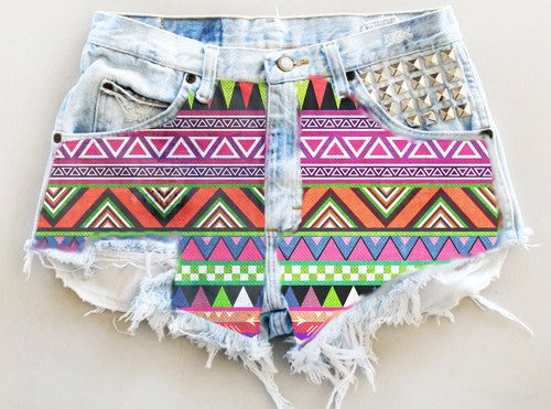 1900f5040cd93 Aztec Print High Waisted Denim Shorts for Girls - Aztec Print High... -  Shorts - Denim: