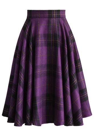 skirt classic plaids a-line skirt in purple chicwish a-line skirt purple