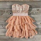 dress,sparkling dress,glitter,orange,tan,ruffle,pink dress