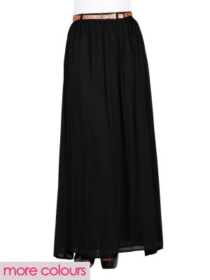 Belted maxi skirt