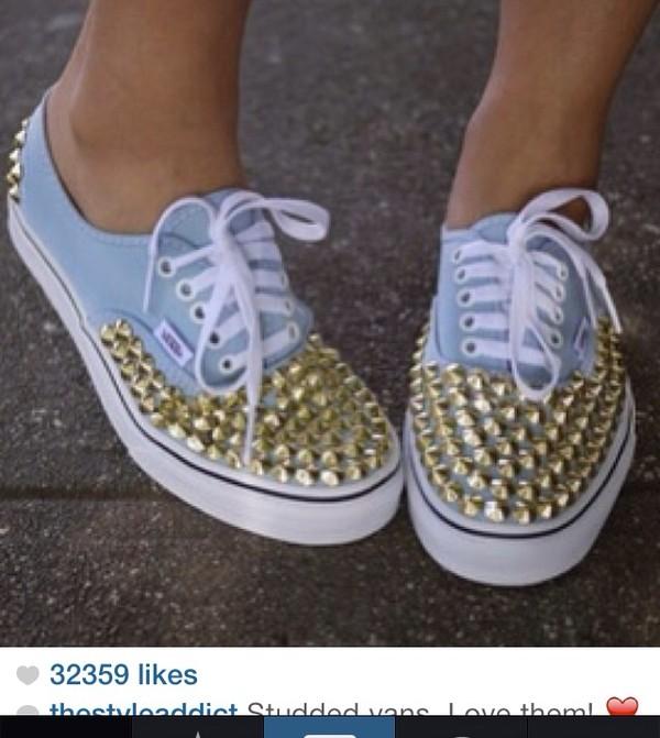 shoes light blue vans studded shoes