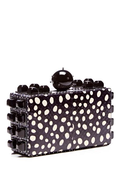 Polka-Dot Printed Snakeskin Clutch by Tonya Hawkes - Moda Operandi