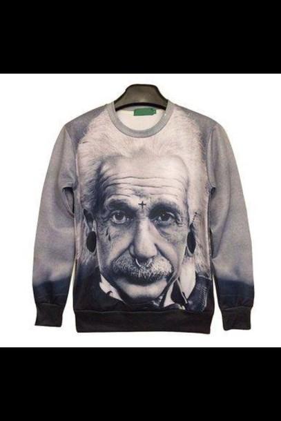 sweater albert einstein swag style menswear grey sweater fashion