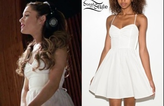 ariana grande ariana grande white dress almost is never enough american apparel tie back dres white dress american apparel tie back dress