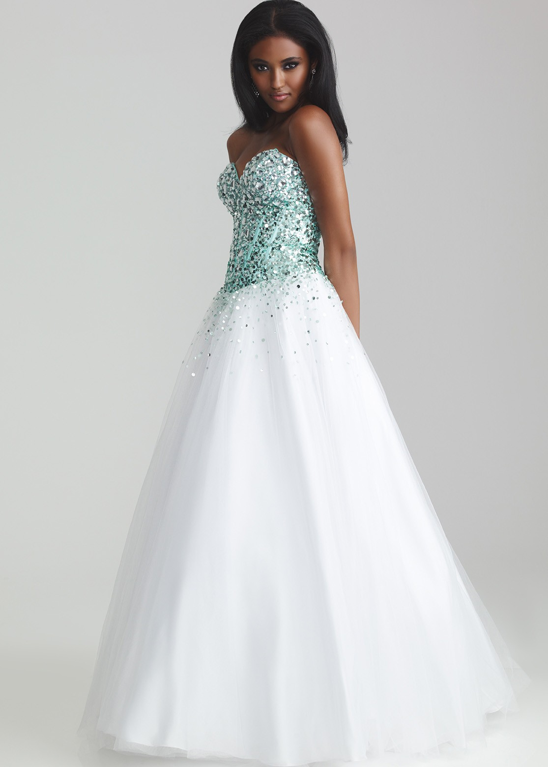 Aqua, white strapless ball gown prom dresses