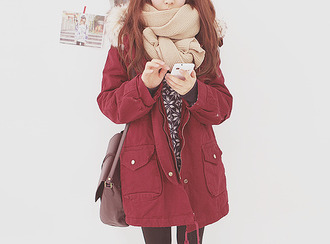 jacket coat red coat merlot dark red deep red winter coat fall coat kfashion ulzzang