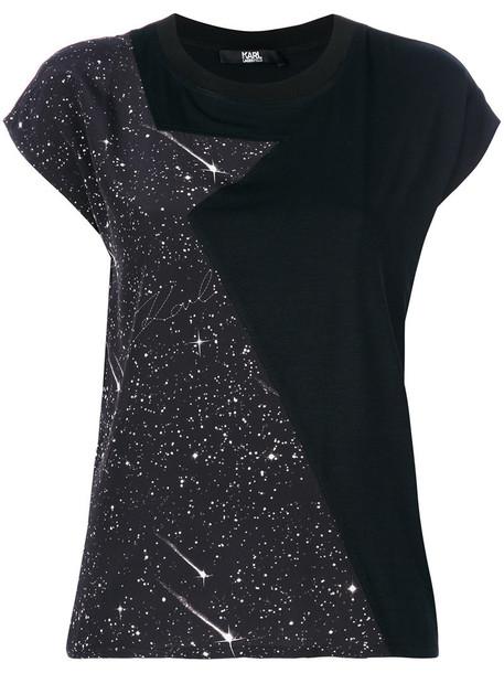 karl lagerfeld t-shirt shirt t-shirt women print black top