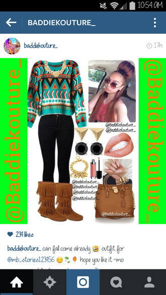 aztec outfit outfit idea baddiekouture_ bag shoes jewels ootd instagram printed sweater black jeans lips fringe shoes brown bag levi's