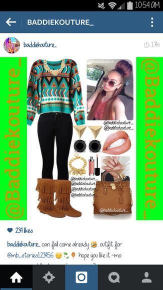 aztec shoes bag jewels outfit outfit idea outfit ideas blaaaze baddiekouture_
