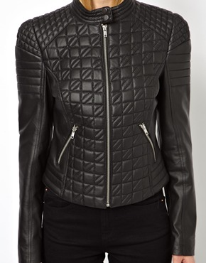 ASOS | ASOS Leather Jacket in Quilt Structured Shoulder at ASOS