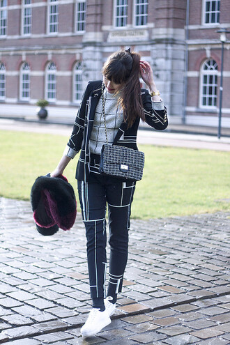 a dash of fash blogger jacket pants sweater scarf jewels shoes bag