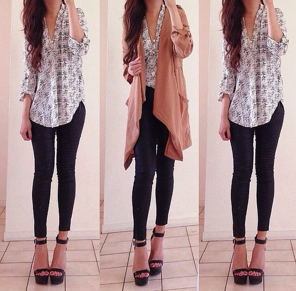 blouse cardigan style modest high heels must have