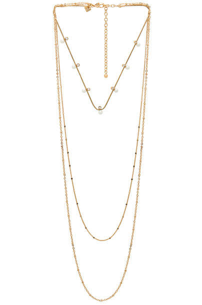 Rebecca Minkoff stone necklace pearl necklace metallic gold jewels