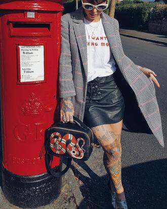 skirt mini skirt lace up skirt t-shirt jacket gucci bag boxed bag blogger blogger style slogan t-shirts