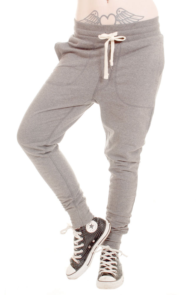 LADIES GIRLS CARROT FIT CUFFED HEM DROP CROUCH SKINNY JOGGERS ASH GREY XS - XL | eBay