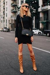 fashionjackson,blogger,dress,bag,shoes,sunglasses,boots,brown boots,chanel bag,black dress,fall outfits