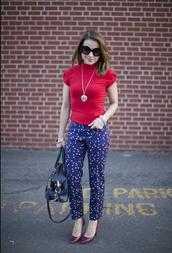 pants,top,polka dots capri pants,polka dots,blue pants,red top,necklace,pumps,red pumps,bag,black bag,sunglasses,black sunglasses